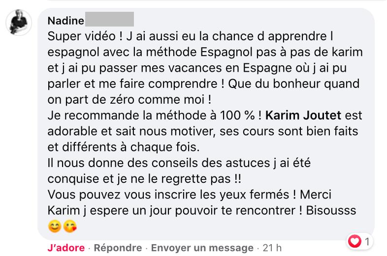Témoignage de Nadine, élève online (2019-2020)
